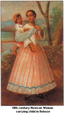 18th c mexican woman carrying child in rebozo