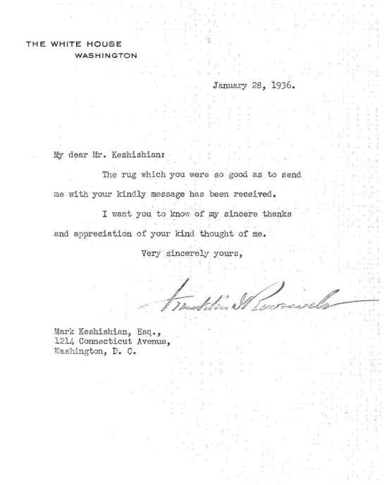 Roosevelt gift letter 1936